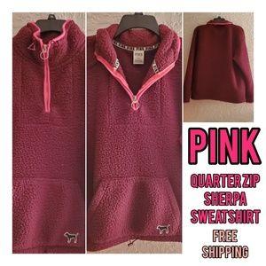 VS PINK Sherpa Quarter Zip Pullover Sweatshirt